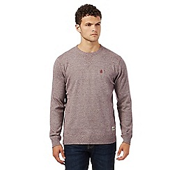 St George by Duffer - Big and tall red textured crew neck jumper