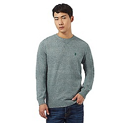 St George by Duffer - Big and tall green twist knit crew neck jumper
