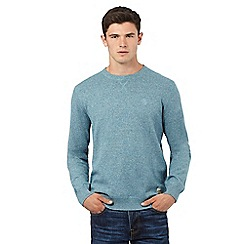 St George by Duffer - Big and tall turquoise long sleeve cotton twist jumper
