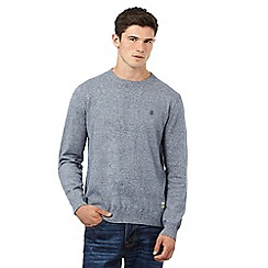 St George by Duffer - Big and tall blue long sleeve cotton twist jumper