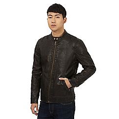 St George by Duffer - Dark brown washed biker jacket