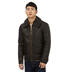 St George by Duffer - Dark brown sherpa trim jacket