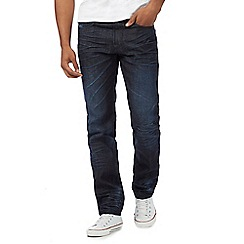 St George by Duffer - Big and tall dark blue tonal mid wash straight leg jeans