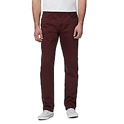 St George by Duffer - Big and tall dark red straight fit trousers