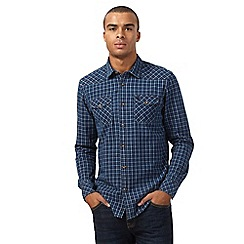 St George by Duffer - Navy checked regular fit shirt