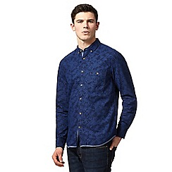 St George by Duffer - Big and tall dark blue floral print button-down shirt