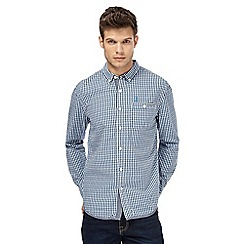 St George by Duffer - Blue long sleeve checked regular fit shirt