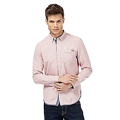 St George by Duffer - Pink long sleeve textured regular fit shirt