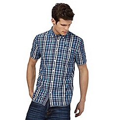 St George by Duffer - Big and tall blue short-sleeved check shirt