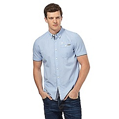 St George by Duffer - Big and tall blue textured semi cross print shirt