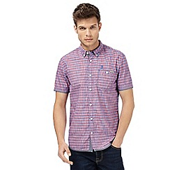 St George by Duffer - Big and tall dark red short sleeve checked regular fit shirt