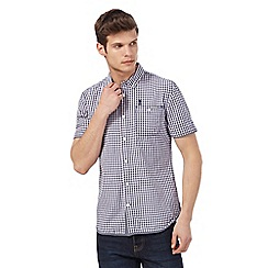 St George by Duffer - Big and tall navy and white checked short sleeved shirt