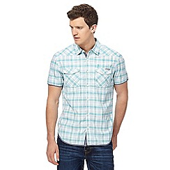 St George by Duffer - Big and tall blue and white checked regular fit shirt