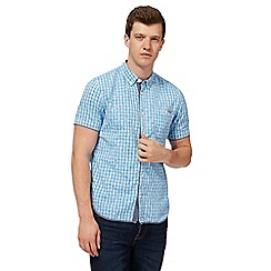 St George by Duffer - Big and tall light blue floral checked shirt