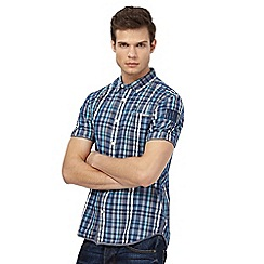 St George by Duffer - Big and tall blue textured checked regular fit shirt
