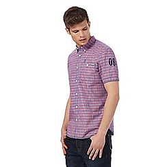 St George by Duffer - Big and tall red and blue checked short sleeved shirt