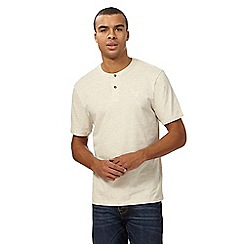 St George by Duffer - Big and tall dark cream grandad t-shirt