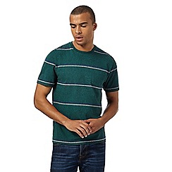 St George by Duffer - Big and tall dark green wide striped t-shirt
