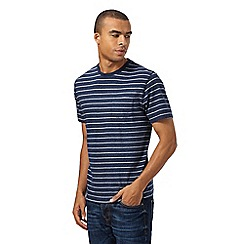 St George by Duffer - Big and tall navy striped pocket t-shirt