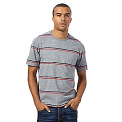 St George by Duffer - Big and tall grey wide striped t-shirt