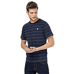 St George by Duffer - Navy textured striped t-shirt