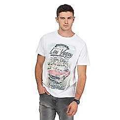 St George by Duffer - Big and tall white 'las vegas' print t-shirt