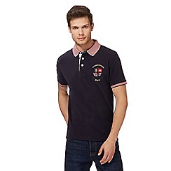 St George by Duffer - Navy textured polo shirt