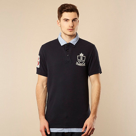 St George by Duffer - Navy pinstriped collared polo shirt
