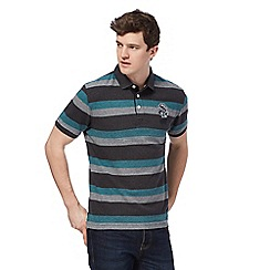St George by Duffer - Big and tall grey and turquoise striped polo shirt