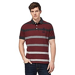 St George by Duffer - Big and tall dark red striped polo shirt