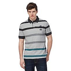 St George by Duffer - Big and tall grey striped polo shirt