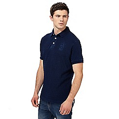 St George by Duffer - Big and tall navy textured logo embroidered polo shirt