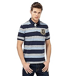 St George by Duffer - Blue block striped polo shirt