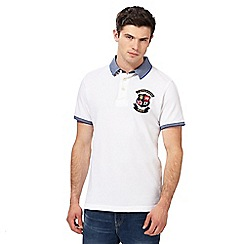 St George by Duffer - Big and tall white logo embroidered polo shirt