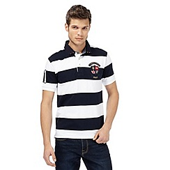 St George by Duffer - Big and tall navy block striped polo shirt