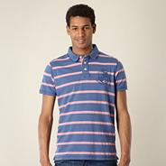 Blue pique striped polo shirt
