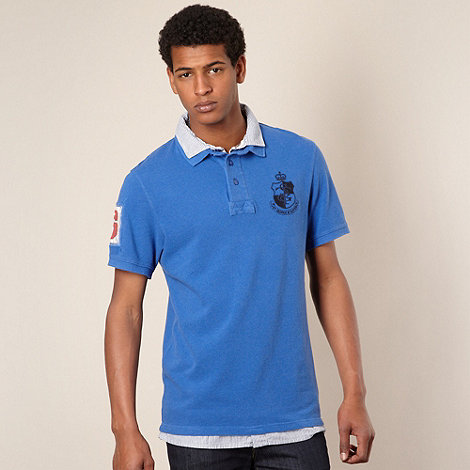 St George by Duffer - Bright blue mock collar polo shirt