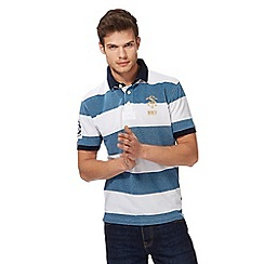 St George by Duffer - Turquoise striped polo shirt
