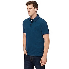 St George by Duffer - Big and tall dark turquoise embroidered logo polo shirt