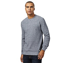 St George by Duffer - Blue twisted knit jumper