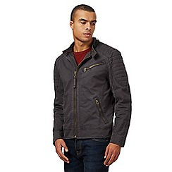 St George by Duffer - Big and tall dark grey washed biker jacket