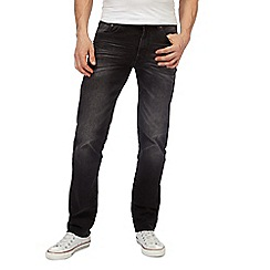 St George by Duffer - Big and tall black mid wash straight leg jeans
