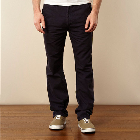 St George by Duffer - Navy canvas straight leg chinos
