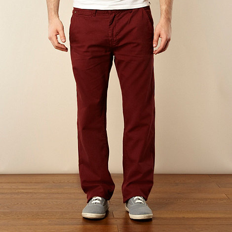 St George by Duffer - Maroon canvas straight leg chinos