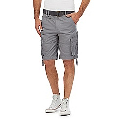 St George by Duffer - Big and tall light grey printed belted chino shorts