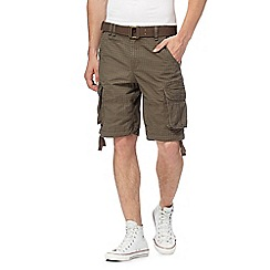 St George by Duffer - Brown checked print belted cargo shorts