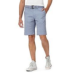 St George by Duffer - Light blue striped belted shorts
