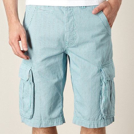 St George by Duffer - Green checked cargo shorts
