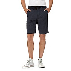 St George by Duffer - Big and tall navy grid check belted shorts
