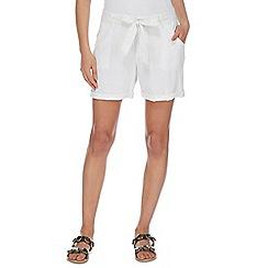 Mantaray - White linen self tie shorts
